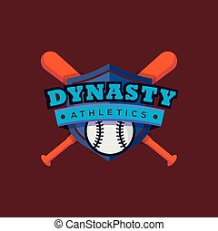logo, wektor, sport, szablon, baseball