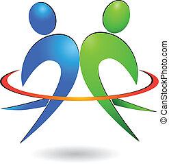 logo, wektor, szczęśliwy, ludzie