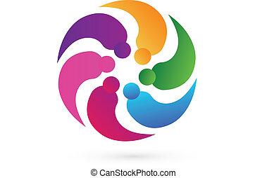 logo, wektor, teamwork, ludzie, towarzysz