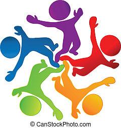 logo, wektor, teamwork, szczęśliwy