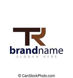 logo, wektor, tr, litera, początkowy