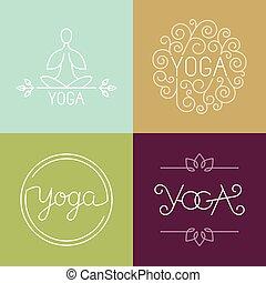 logo, wektor, yoga, linearny