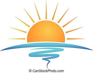 logo, wellen, sandstrand, sonne
