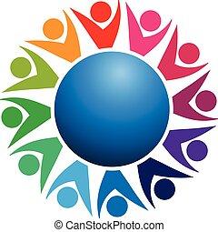 logo, welt, gemeinschaftsarbeit, geschäftsmenschen