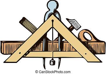 logo, werktuig, timmerlieden