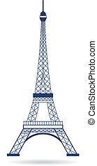 logo, wieża, wektor, eiffel