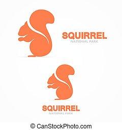 logo, wiewiórka, wektor