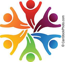 logo, winnaar, teamwork, 6