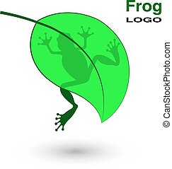 Logo with a frog on a bright green leaf.
