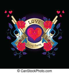 Logo with a gun and roses red hear - love, heart, bang-bang,...
