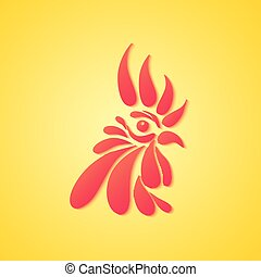 Logo with a head of red rooster on a yellow background.