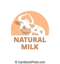 Logo with a smiling cow on a brown background.