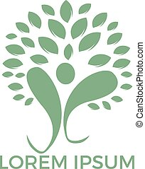 Logo with abstract human figure and green leaves of tree.
