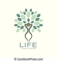 Logo with abstract human figure and green leaves. Original flat vector emblem for self development center or yoga classes. Natural and healthy living