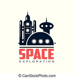 Logo with abstract image of cosmic station. Space shuttle launch. Emblem in dark blue color. Flat vector design for project, t-shirt print, sticker or label
