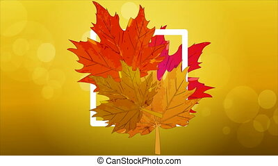 logo with autumn leaves - Logo with autumn leaves, artistic...
