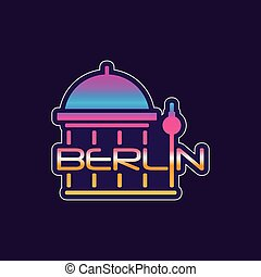 Logo with Berlin abstract cathedral in gradient color....
