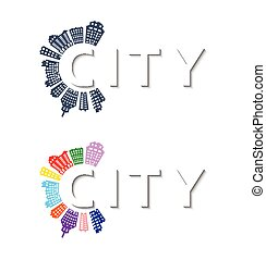 Logo with buildings and city abstract background