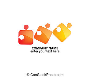 Logo with colorful puzzles - three colored puzzles in ...