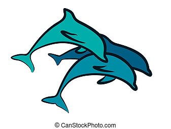 Logo with dolphins.