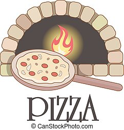 Logo with firewood oven and pizza.  Burning stove, vector
