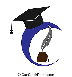 Logo with graduate cap, inkwell and pen, flat image