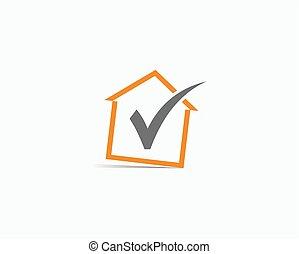 Logo with home icon. Vector logo check house.