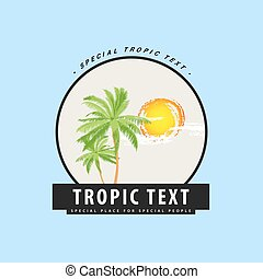 Logo with palm trees and sunset