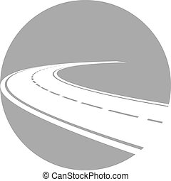 Logo with perspective of curved road - Vector illustration...