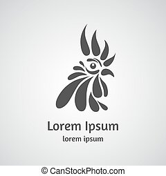 Logo with rooster head on a light background.