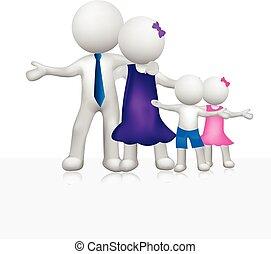 logo, witte , 3d, gezin, mensen