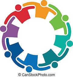 logo, wizerunek, obejmować, 8, teamwork