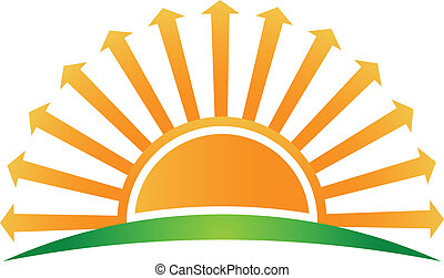 logo, wizerunek, strzały, wschód słońca