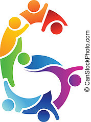logo, wizerunek, teamwork, liczba 6