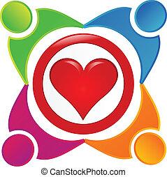 logo, wohltätigkeit, gemeinschaft, leute