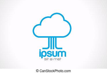 logo, wolk, gegevensverwerking, concept, icon., technologie, gegevensoverdracht