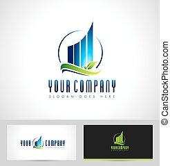 logo, wolkenkratzer, realestate