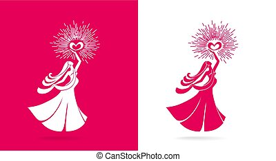 Logo woman. Sign of motherhood and happy pregnant girl. Beautiful pregnant woman holding a burning heart in her hands as a symbol of love and tenderness.