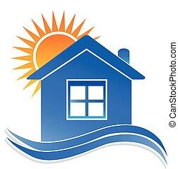 logo, woning, zon, golven