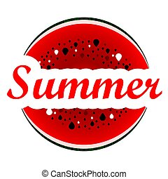 Logo words Summer and watermelon