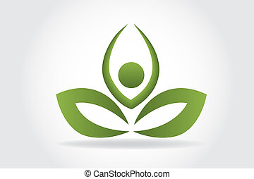 logo, yoga, feuille, gens