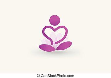 Logo yoga man flower heart vector web image