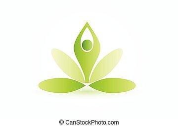 Logo yoga man lotus flower vector image