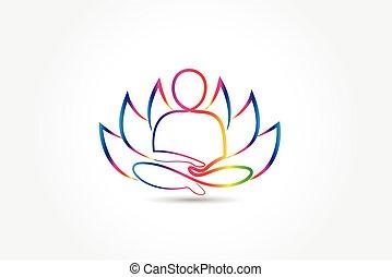 Logo yoga man lotus flower