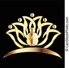 logo, yoga obsadzają, złoty, lotosowy kwiat