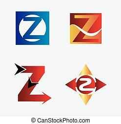 logo, z, komplet, litera, ikona