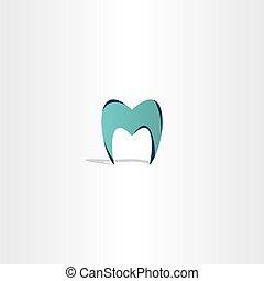 logo, zahn, m, brief, ikone