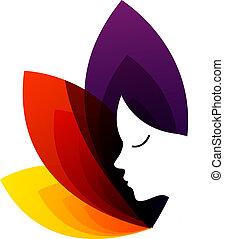 logo, zentrieren, fruchtbarkeit, damen