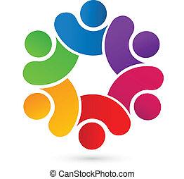logo, zjednoczony, teamwork, ludzie