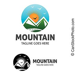 logo, zon, berg